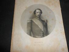 1861 STEEL ENGRAVING KING OF FRANCE NAPOLEON III NAPOLEONE