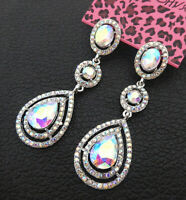 Women's AB Crystal Oval Teardrop Betsey Johnson Dangle Drop Earrings