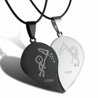 Valentine's Day Gifts Couple Stainless Steel Heart Pendant Necklace Jewelry