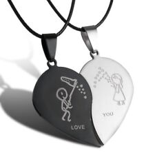 Couple Stainless Steel Heart Pendant Necklace Mother's Day Gift Spring Jewelry