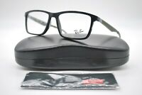 NEW RAY BAN RB 7056 5812 BLACK AND GREEN AUTHENTIC EYEGLASSES FRAMES RX 55-17