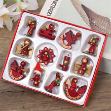 Christmas Tree Ornaments Hanging Decoration Wooden For Xmas Decor Horse Drum Toy