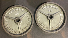 "Ivanko Barbell 45 LB OM-Series 2"" Olympic Weight Plates USA Stamp Vintage #3"