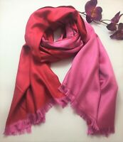 Ladies special occasion silk pashmina silk scarf in pink reversible style
