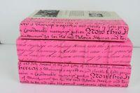 Lot of 3 Hot Bright Pink Spines Books Bookshelf Decor Calligraphy Script Binding