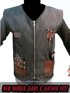 Professional Leather Barber  vest for Barber Hairstylist vest,Barber jeans Vest