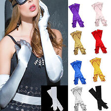 Halloween Ladies Long Evening Finger Gloves Satin Charleston Party Dress
