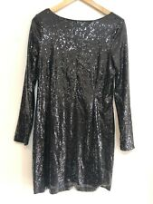 KARDASHIAN KOLLECTION Ladies Black Long Sleeved Sequins Detailed Dress Size 14