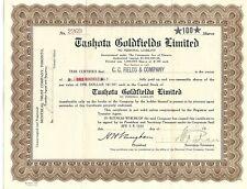 Tashota Goldfields stock certificate No. 2269, 100 shares, 1935 Ontario