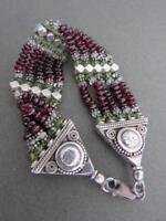 Vintage Silver Garnet Cuff Bracelet Bangle