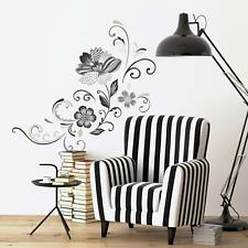 BLACK AND WHITE FLOWER SCROLL Wall Decals Peel and Stick Floral Mural Decor