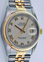 Rolex Datejust Yellow Gold & Steel White Pyramid Roman 16233 Jubilee WATCH CHEST