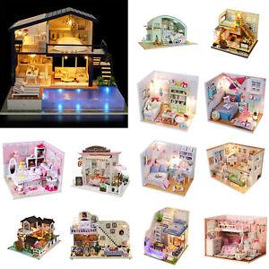 DIY Doll House Assemble Wooden Princess House Furniture Girl Children Toy Kit
