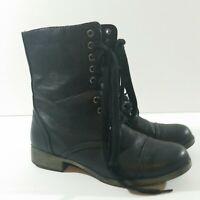 Mia Parade Women's Black Lace Up/Side Zipper Boots Size US 7 M