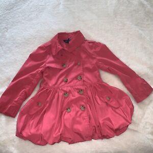 Ralph Lauren Little Girls Size 4/4T Pink Trench Coat Rain Coat