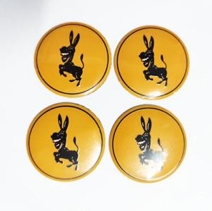 4pcs 56mm Donkey Car Wheel Center Hub Caps Yellow Emblems Badges Stickers Decals