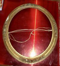 Ancien Grand Cadre Ovale XIX Doré Ecclésiastique ésotérisme décor Floral moulure