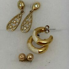 3 Pairs Monet Brand Earrings Gilt Metal Crystal Enamel Stud Butterfly Pierced
