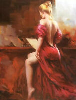 LMOP31 100% hand-painted playing the piano music girl oil painting on canvas
