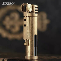 Zorro Transparent oil tank Retro design Metal brass trenches Gasoline lighter
