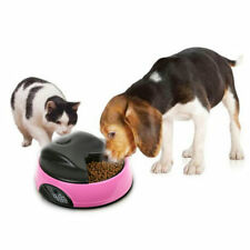 4 Meal Programmable Timer LED Automatic Pet Dog Cat Feeder Water Tray Bowl Pink