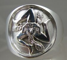 Sicilian Trinacria ring Jewelry Solid.925 sterling silver mens size 9.5