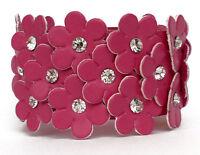 BRACELET femme simili cuir FLEURS ROSE fushia et CRISTAL réglage 14,5 - 16 cm