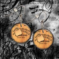 "OUIJA BOARD CUSTOM INITIAL  Alphabet 1"" Button Dangle Earrings  FREE PIN"
