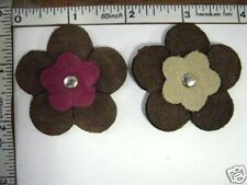 Fake Suede Applique Patch Craft Suede decorative Sew on motif flower patch 2pcs