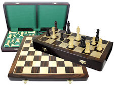 "Rosewood Folding Chess Board 20"" + Imperial Staunton 4"" Chess Pieces + Extra Qns"