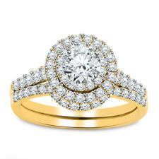 2.00Ct Round Cut Diamond Engagement Wedding Ring Bridal Set 14K Yellow Gold Over