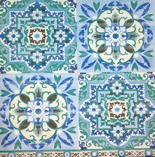 3x Single Paper Napkins For Decoupage Craft Tissue Light Blue Spanish Tiles M136