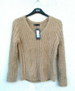Marks & Spencer Beige Fluffy Jumper Size Medium Cable Knit with Long Sleeves