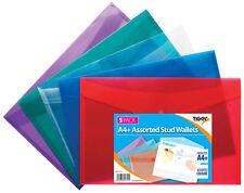 Tiger 5 x Premium A4 Stud Press Wallets Coloured Plastic Document File Folder
