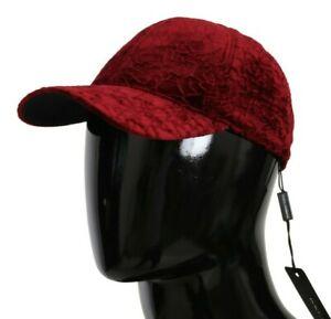 DOLCE & GABBANA Hat Cotton Bordeaux Velvet Lace Baseball Cap s. 58 / M