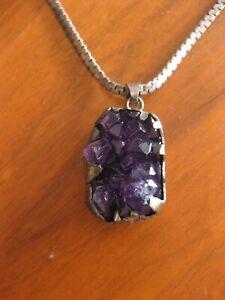 Vtg Sterling Silver Purple Amethyst Crystal Heart Rhinestone Pendent Signed AU Necklace