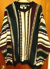 SUTTER & GRANT stripes knit sweater XL vtg kitschy Serpentine Earth Tones 1980s