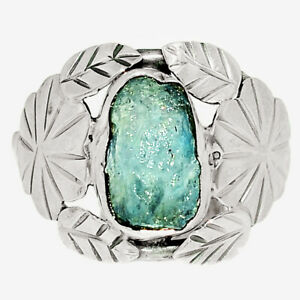 Southwest Style - Aquamarine Rough 925 Silver Ring Jewelry s.8 BR77707
