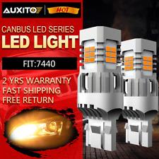 2x Amber Yellow 7440 LED Turn Signal Parking Light Bulbs No Hyper Flash Canbus