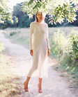 NEW ZIMMERMANN 1 S Anais Dress Cotton White Long Sleeve Lace Ivory Sheath Maxi
