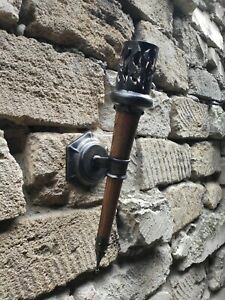 Medieval wall torch Viking lamp Hand forged iron sconces Gothic style lighting