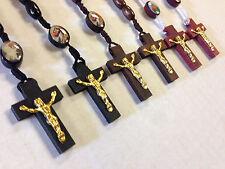 10 Rosary Bead Necklace Wood Bead Crucifix Religous Cross Wholesale Brand  New