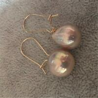 Natural Cultured Baroque Pearl Earrings 18K Gold Ear Drop Dangle Hoop Cultured