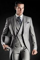 Beautiful Light Grey Morning Suits Groom Tuxedos Suit (Jacket+Pants+Vest+Tie)