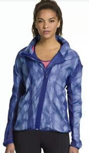 Womens UNDER ARMOUR Blue Windbreaker Running Jacket Sz Small EUC