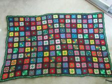 Beautiful NOS Wool Afghan Granny Square Handmade Heavy Throw Vintage Blanket