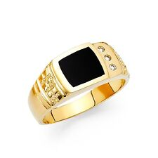 Mens Onyx Ring Solid 14k Yellow Gold Square Band CZ Engagement Style Black Fancy