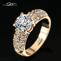 CZ Stone Wedding Finger Rings 18K Rose Gold/Platinum Plated Jewelry For Women