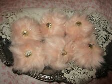 6 NEW Pale Pink Faux Fur Ornaments Valentine's Day Tree Victorian Style