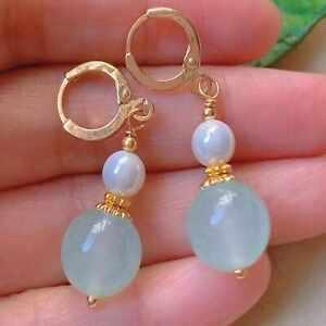 Natural Baby blue chalcedony beads Pearl eardrop gold earrings Jewelry Wedding